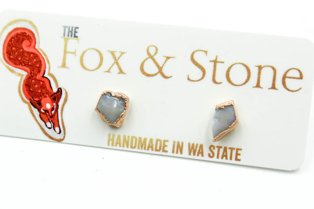 Silver Electroformed Raw Gemstone Earrings-The Fox And Stone