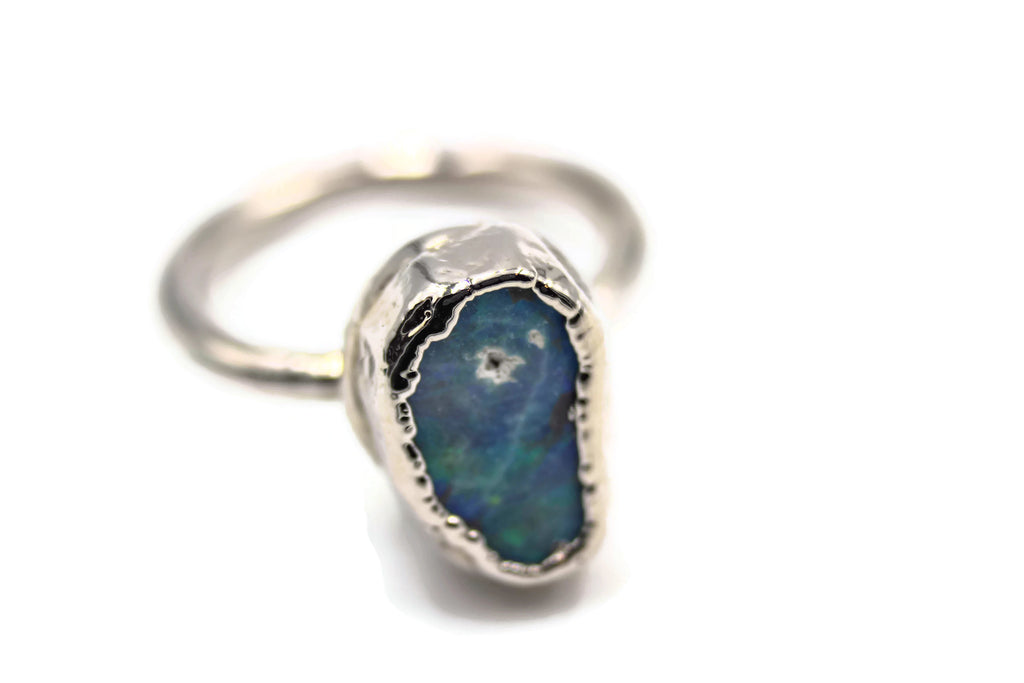 australian opal engagement ring alternative wedding ring by the fox and stone jewelry