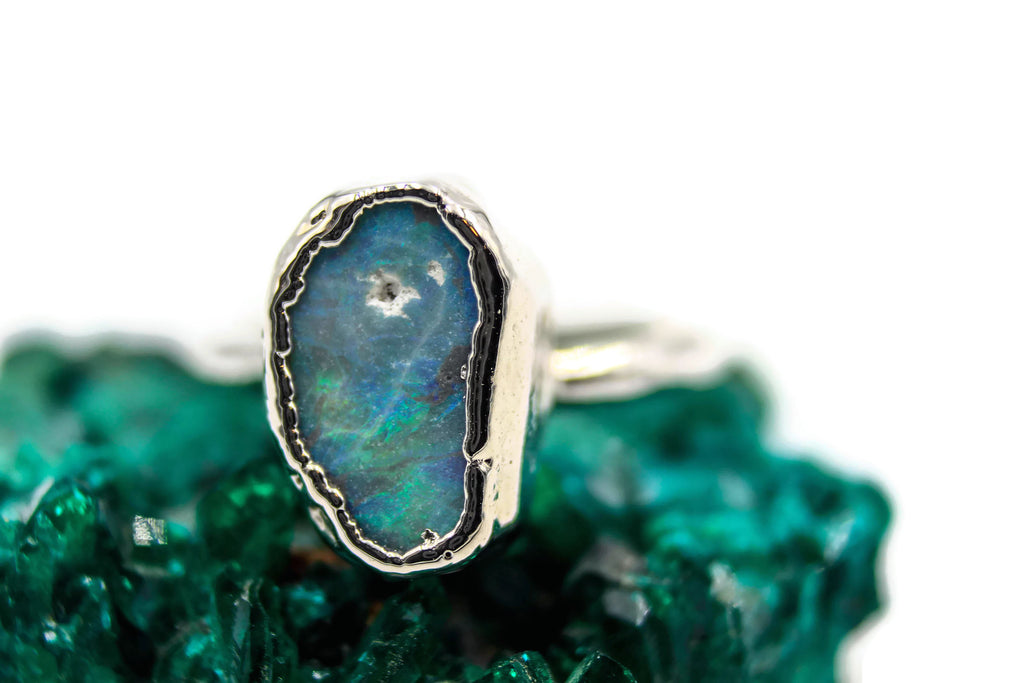 Australian Opal, Rhodium, Electroformed, Solitaire