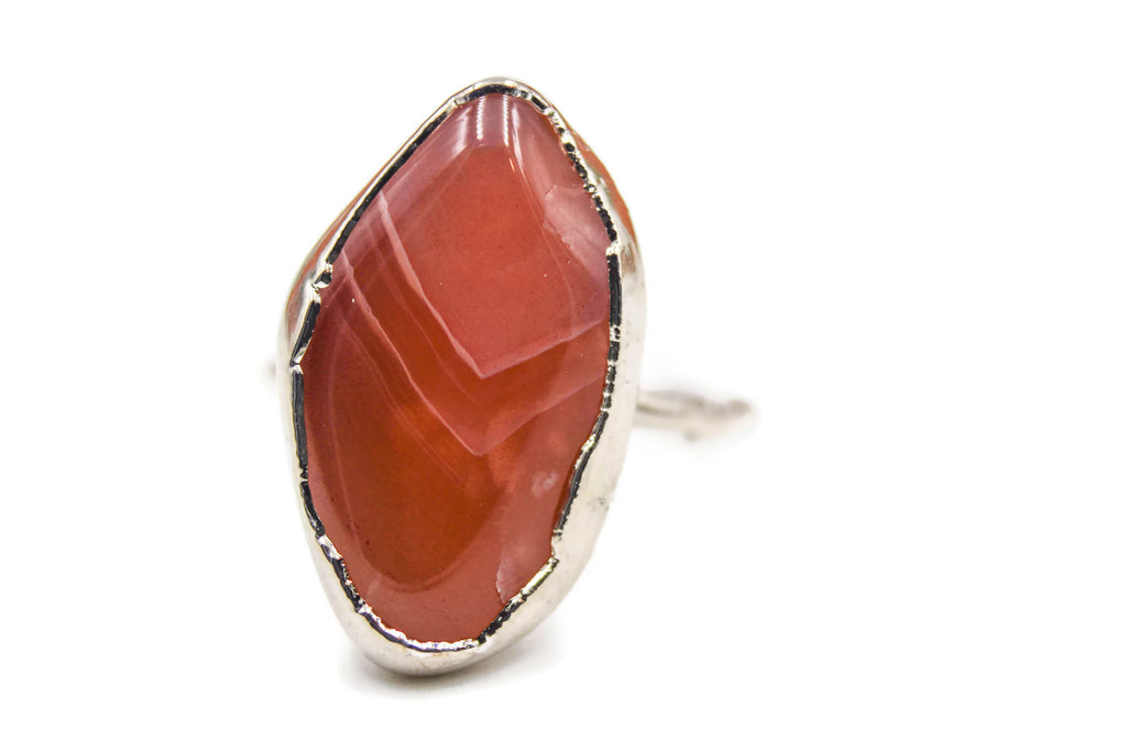 Botswana Agate Statement Ring, Copper Electroformed, Rhodium Plated