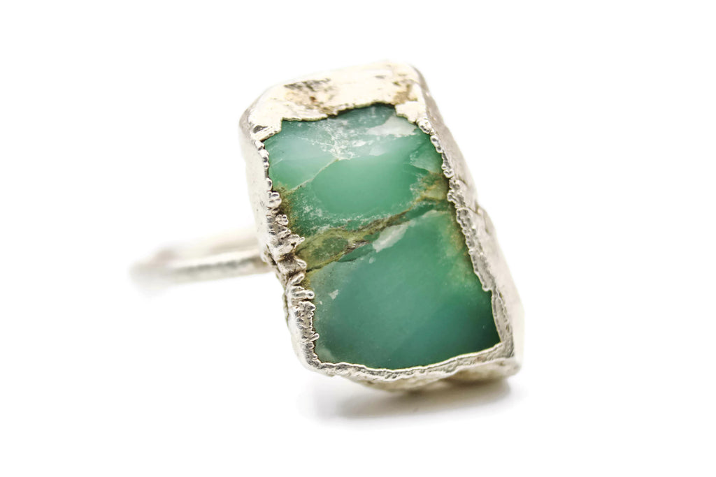 chrysoprase raw gemstone alternative engagement ring the fox and stone