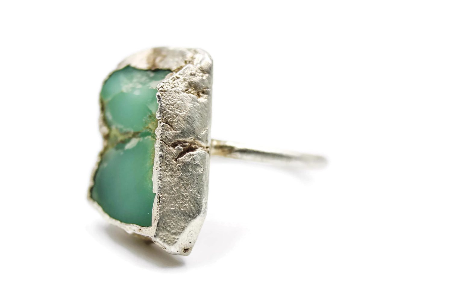 Chrysoprase Statement Ring, Solid Fine Silver