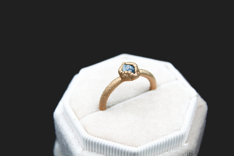 Chunky Sapphire Ring in 18k Matte Rose Gold