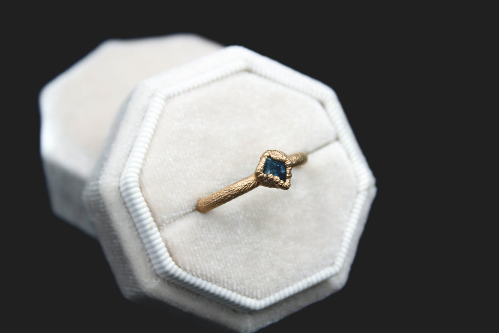 Chunky Sapphire Ring in 18k Matte Rose Gold-The Fox And Stone