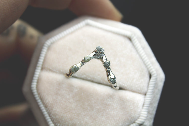Raw Diamond Chevron Ring III in Silver