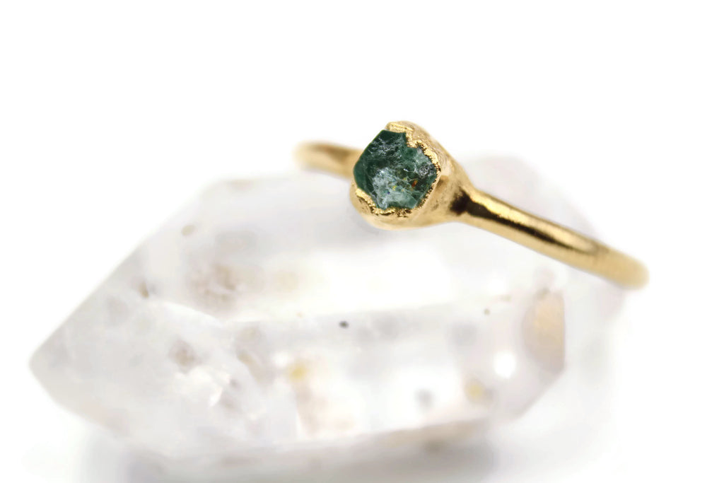 Emerald Stacking Ring, Solid Fine Silver, 24k Yellow Gold Plated