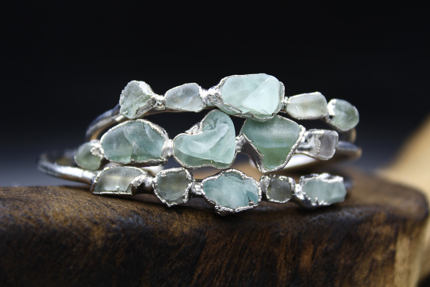 Chunky Fluorite Bracelet Plated in Rhodium-Bracelets-The Fox And Stone