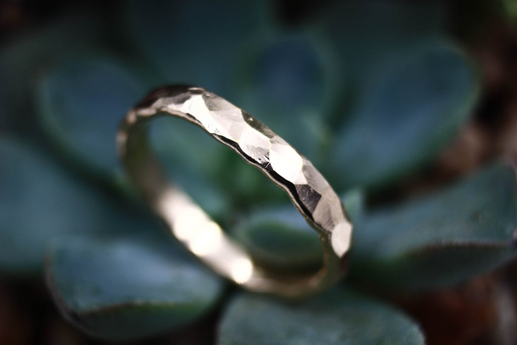 gold rustic wedding band - hammered ring by the fox and stone