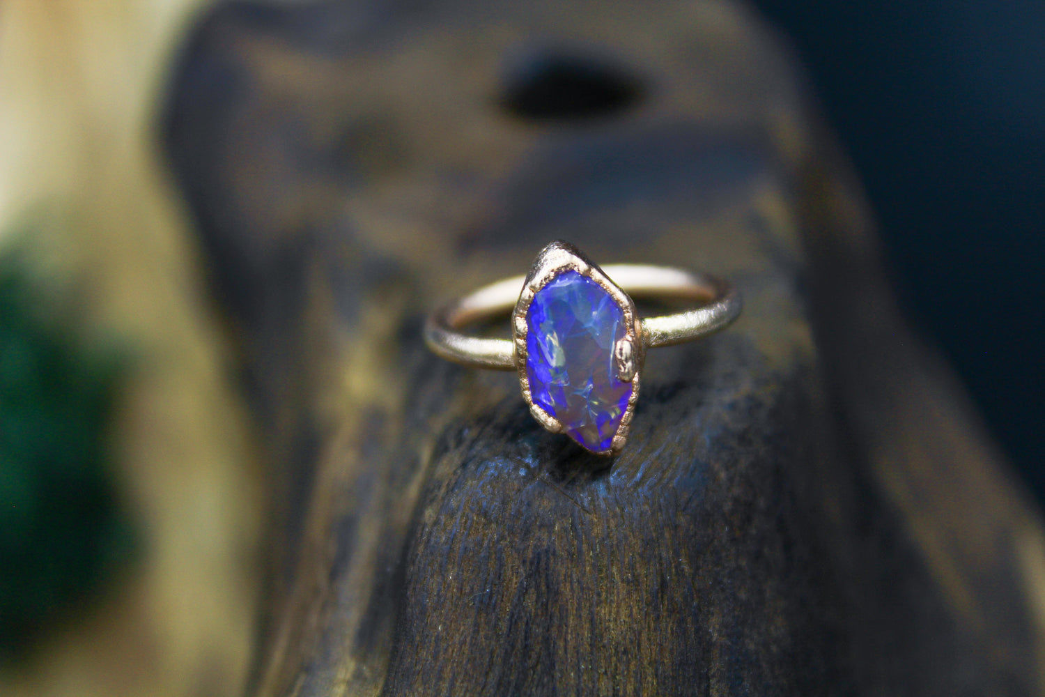 Hand Cut Hexagon Australian Opal Ring in Rose Gold