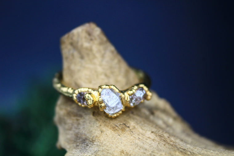Tri-stone Herkimer Diamond Ring in Yellow Gold