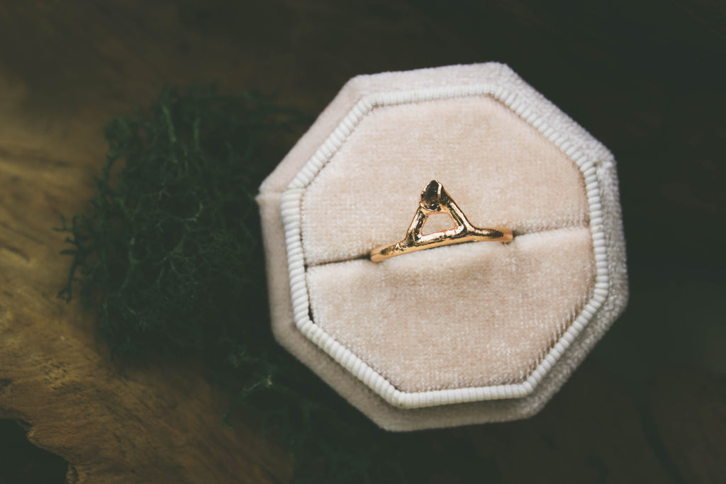 Herkimer Diamond Crown Ring in 18k Rose Gold-The Fox And Stone
