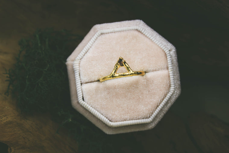 Herkimer Diamond Crown Ring in 24k Yellow Gold