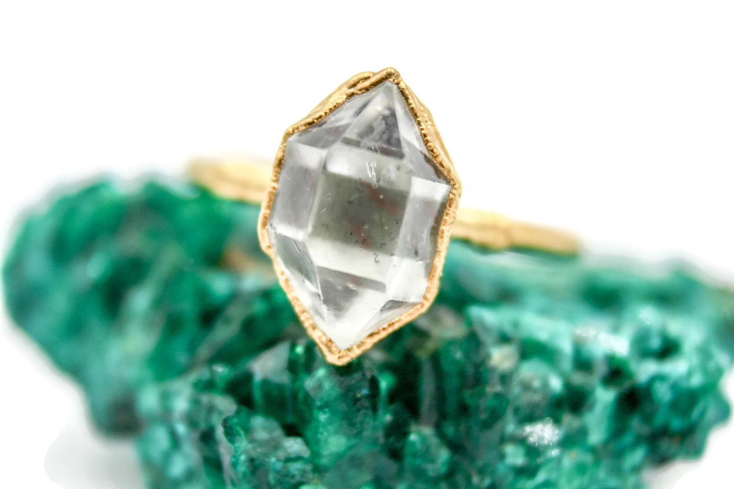Herkimer Diamond, Yellow Gold, Electroformed, Solitaire, Wedding Ring