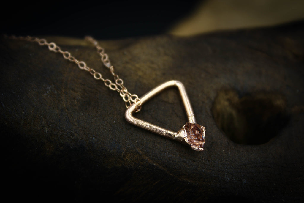 Herkimer Diamond Triangle Charm Necklace in Rose Gold-The Fox And Stone