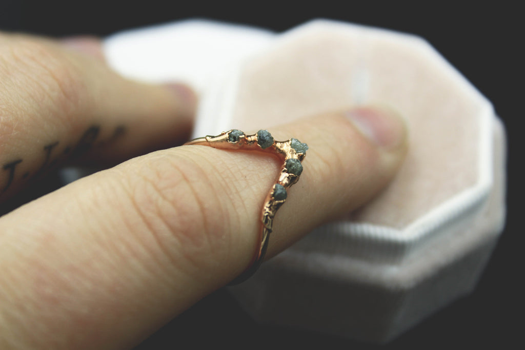 Raw Diamond Chevron Ring in Rose Gold-The Fox And Stone