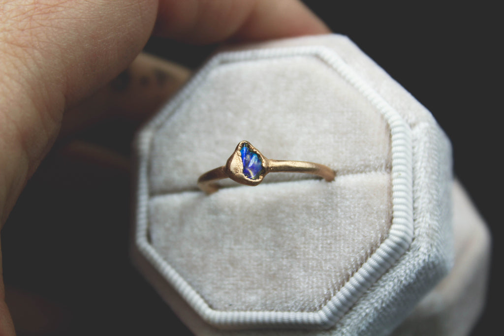 raw opal engagement ring fox and stone bohemian luxury