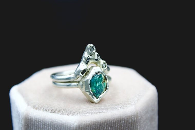 Turquoise & Raw Diamond Engagement Wedding Set