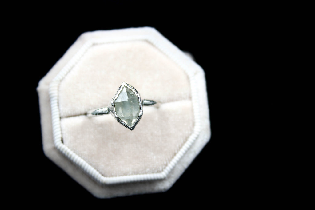 Herkimer diamond engagement ring alternative wedding band the fox and stone bohemian jewelry