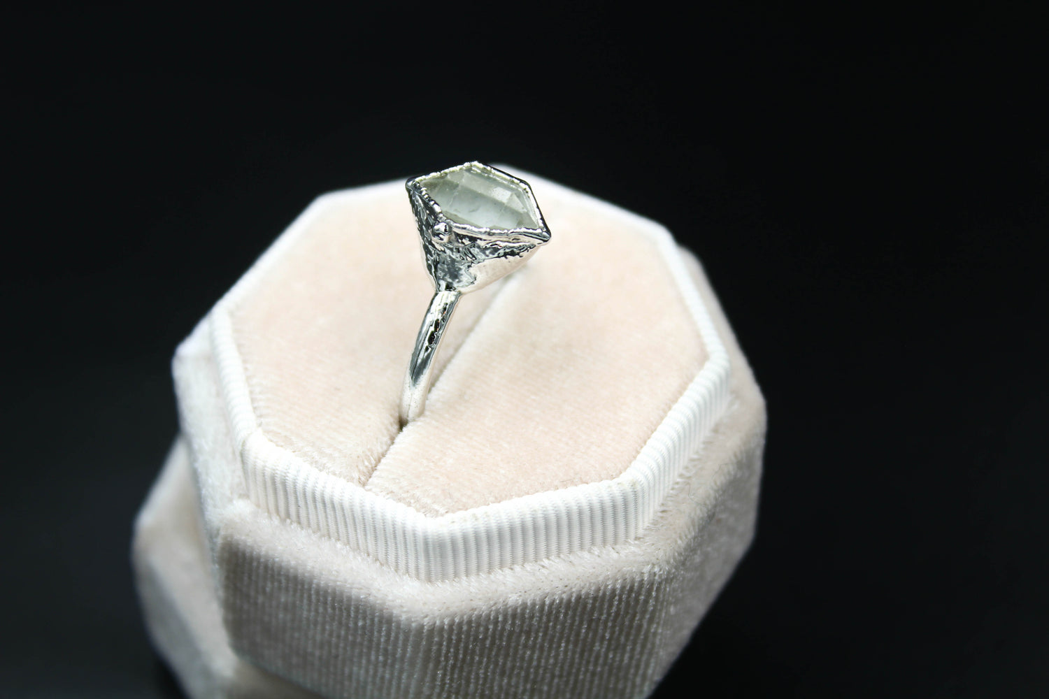 Herkimer diamond alternative engagement ring fox and stone bohemian jewelry