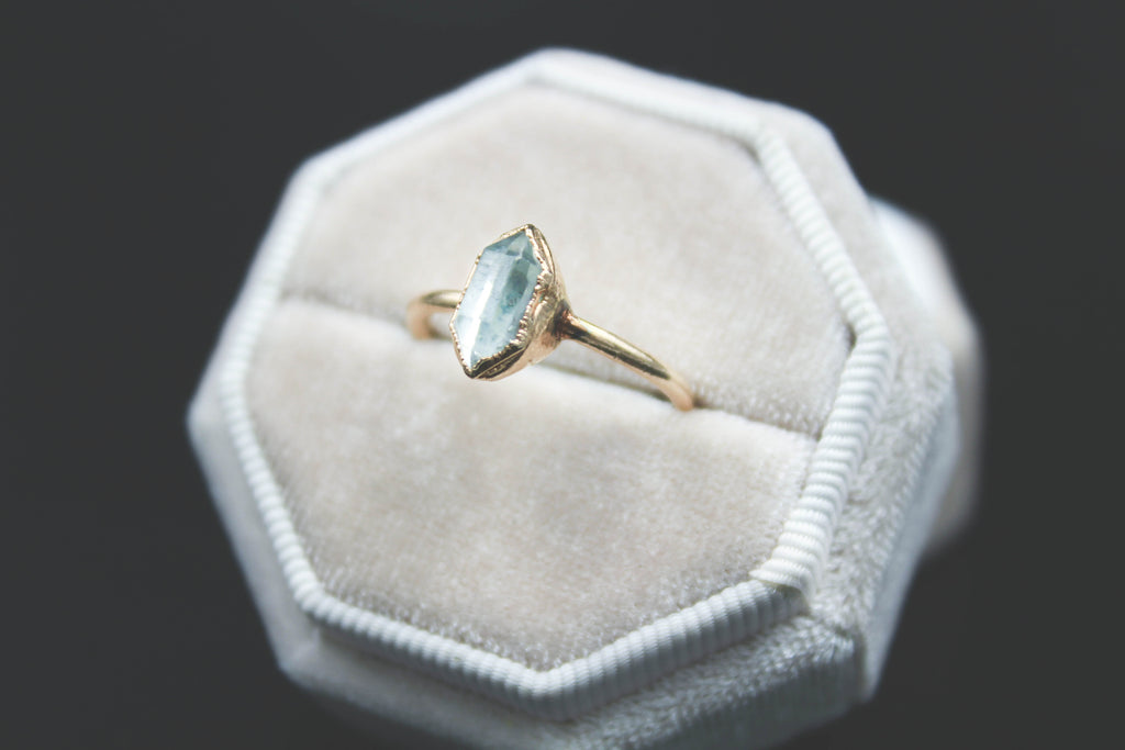 herkimer diamond alternative engagement ring by fox and stone custom bridal jewelry