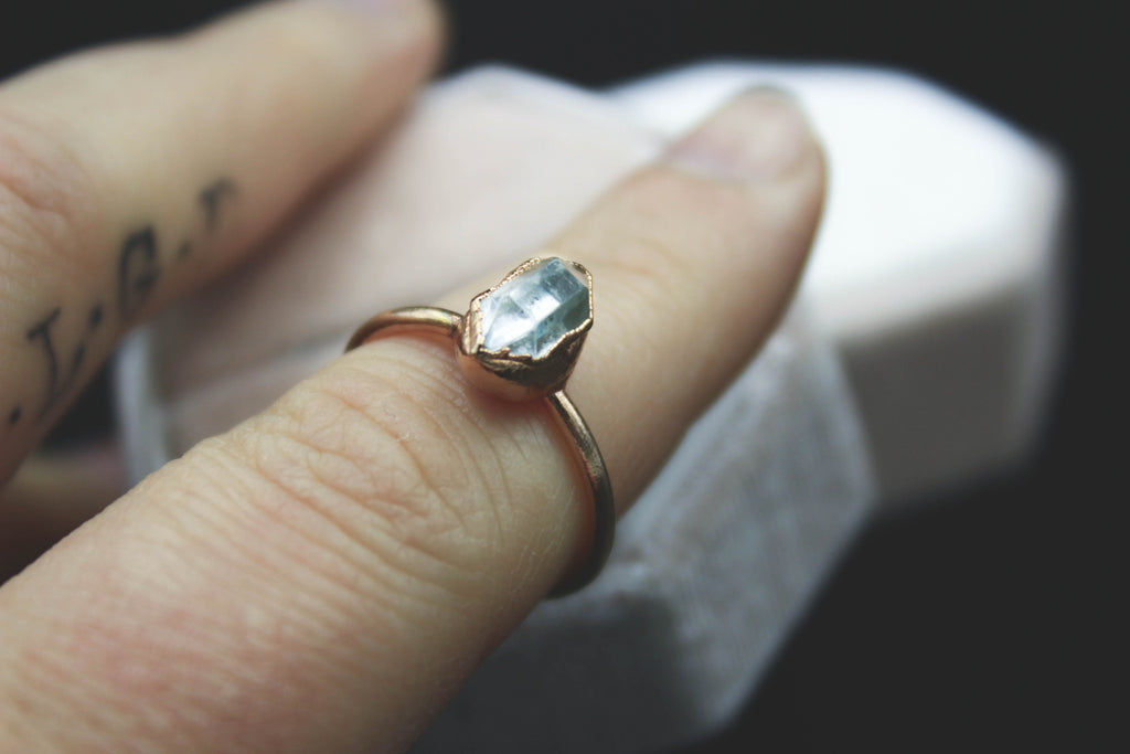 herkimer diamond alternative raw gemstone engagement ring by fox and stone custom bridal jewelry