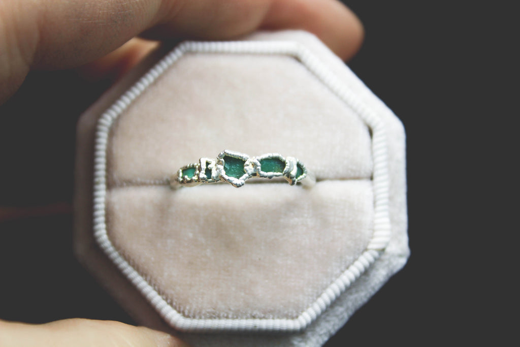 Chrysoprase Raw gemstone chip engagement ring alternative wedding band the fox and stone bohemian jewelry
