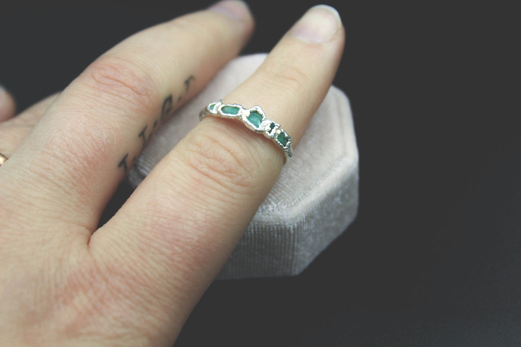 Chrysoprase alternative wedding band the fox and stone bohemian jewelry