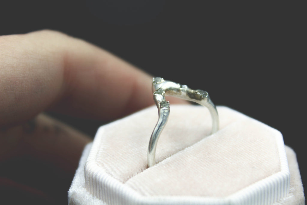 raw diamond wedding band alternative engagement ring