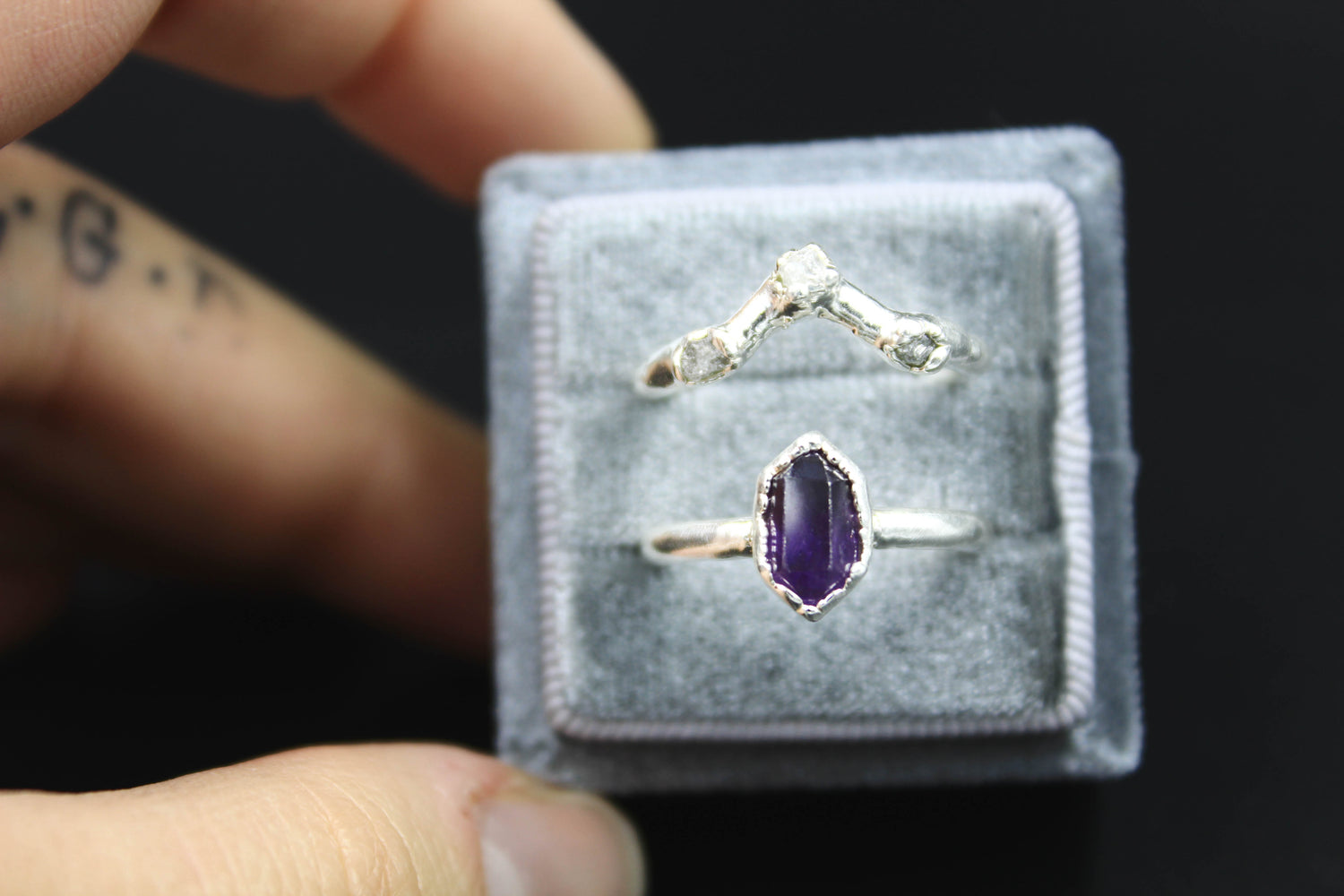 Amethyst engagement ring raw diamond wedding band the fox and stone bohemian jewelry