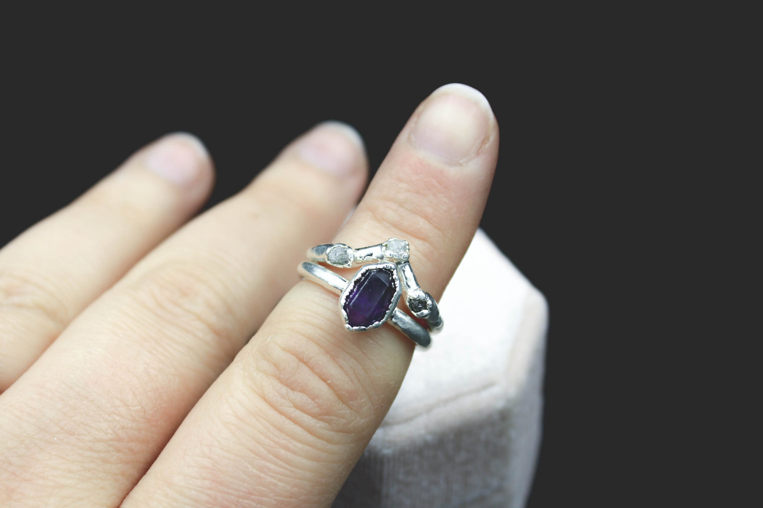Raw Gemstone wedding set amethyst engagement ring raw diamonds the fox and stone