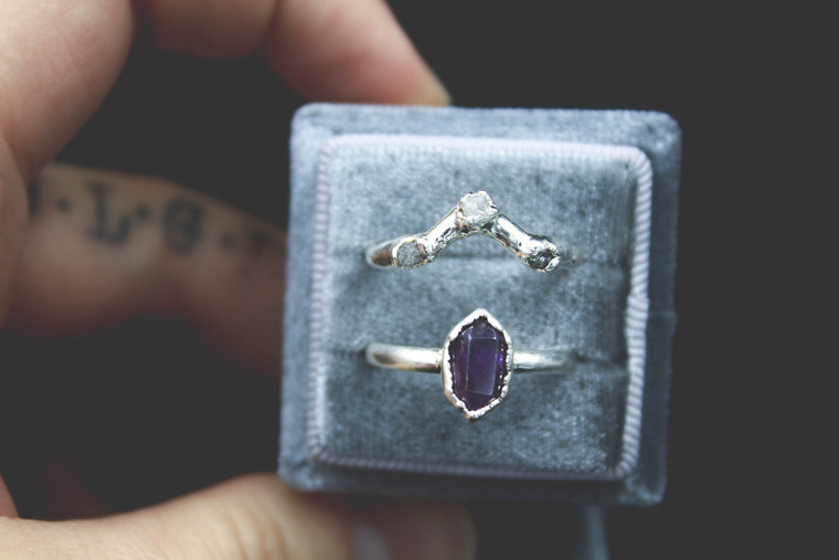 Dark Amethyst and Raw Diamond Wedding Ring Set