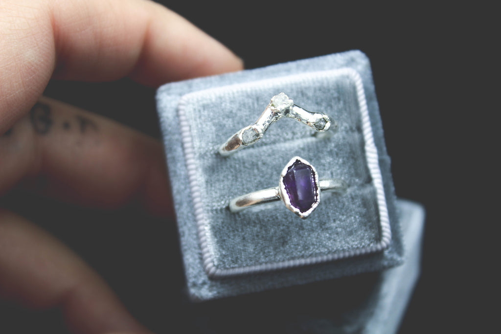 Amethyst and Raw Diamond Raw gemstone wedding set the fox and stone alternative engagement ring