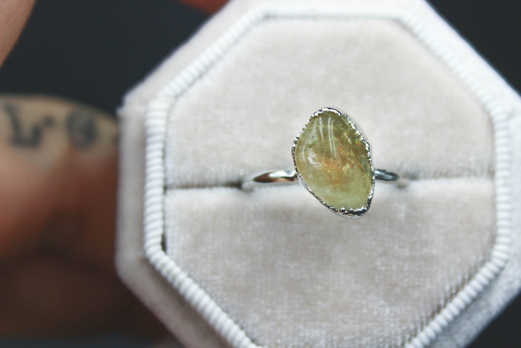Citrine Crystal Ring in Rhodium