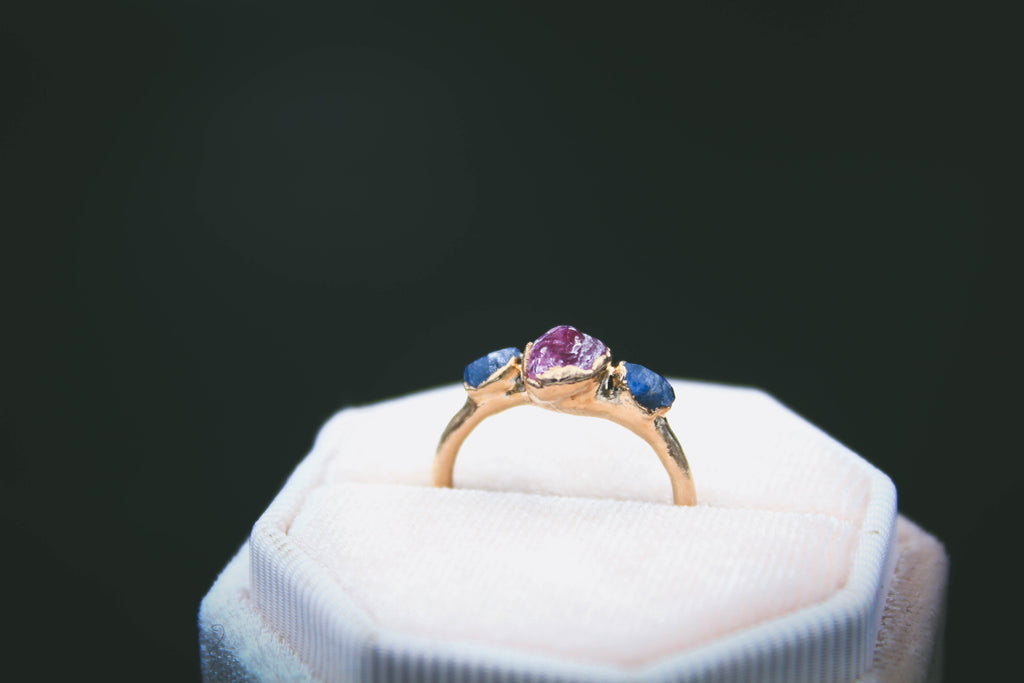 Blue Sapphire and Raspberry Garnet Ring in Rose Gold