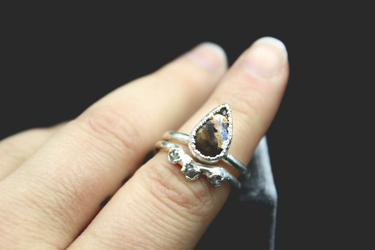 opal raw diamond alternative engagement ring fox and stone