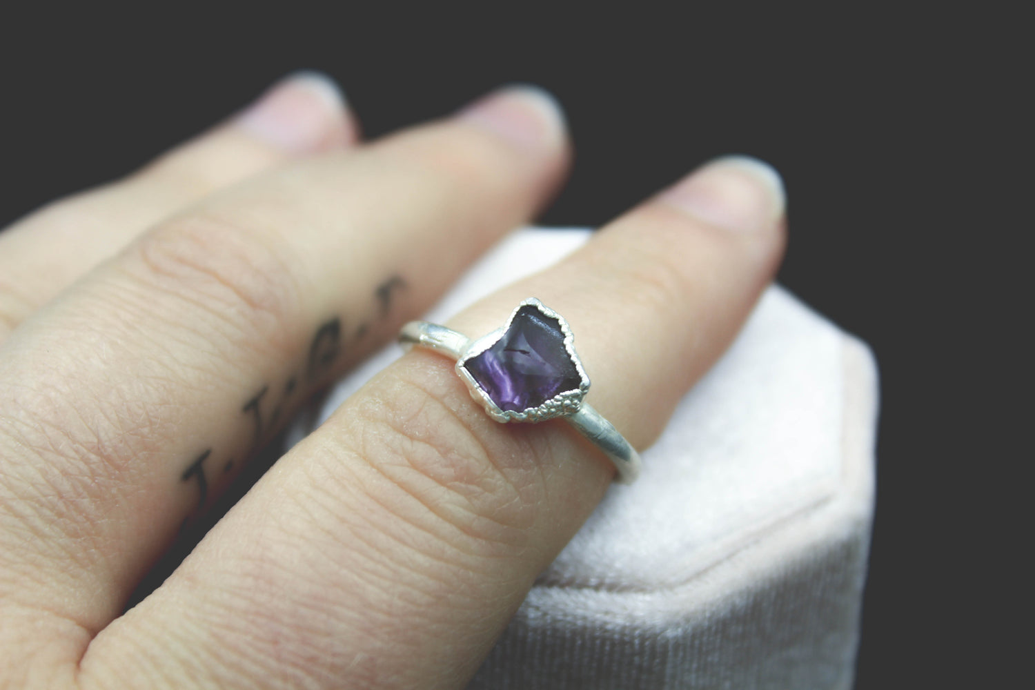 Amethyst Engagement Ring in Silver