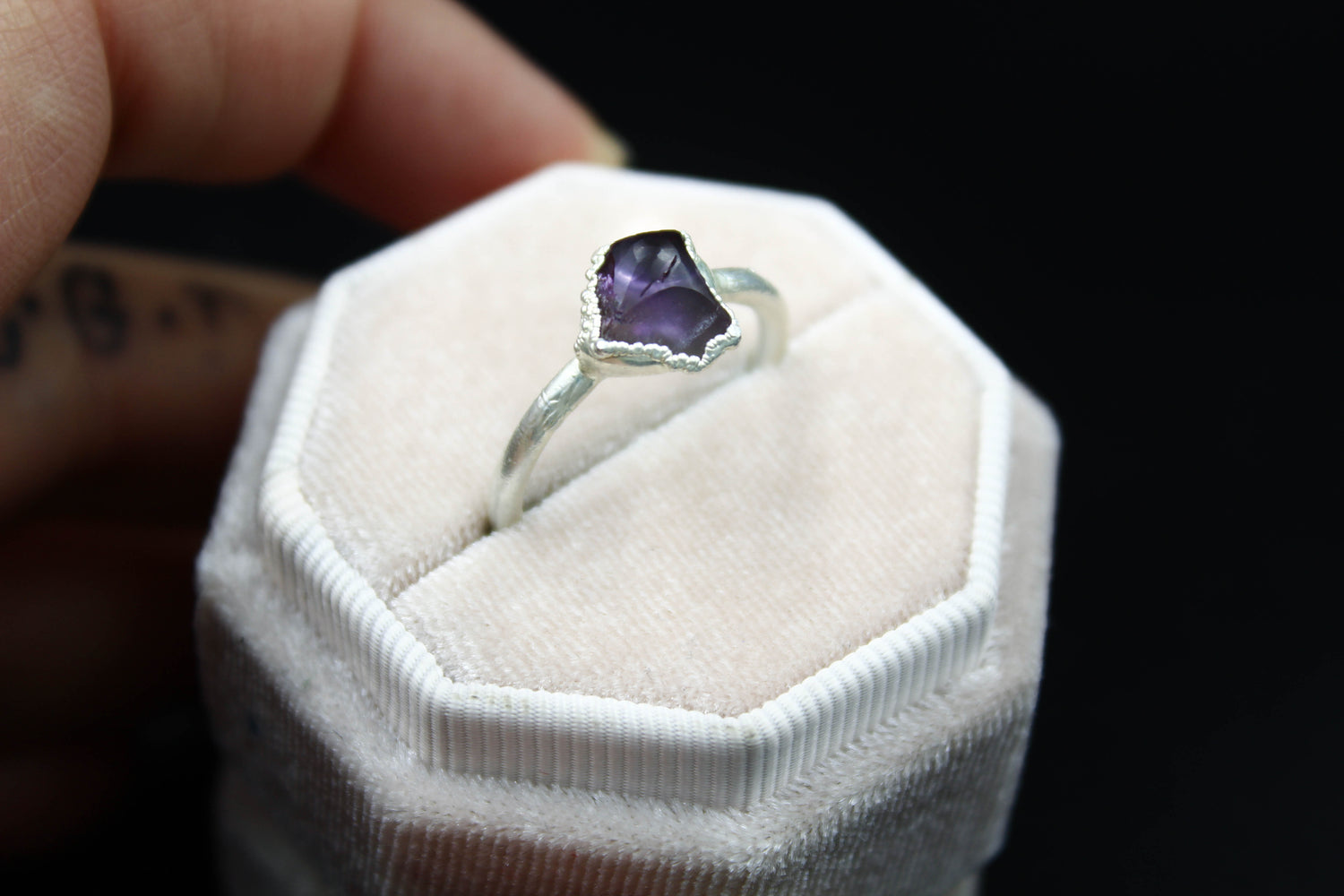 Amethyst Engagement Ring in Silver-The Fox And Stone