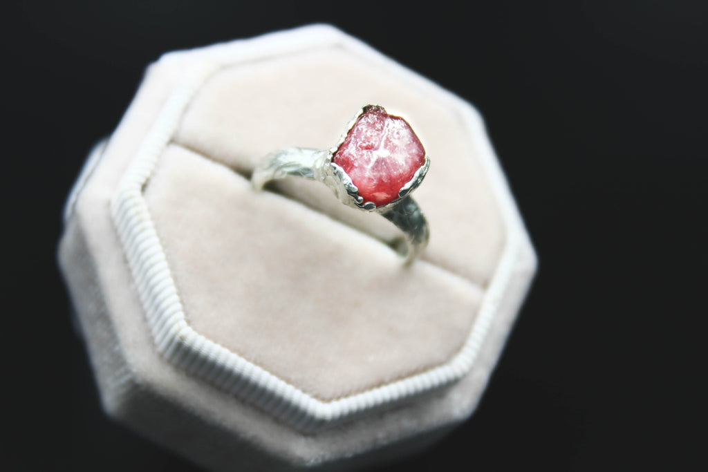 Raw Gemstone Engagement Ring Pink Sapphire Silver by Fox and Stone Jewelry