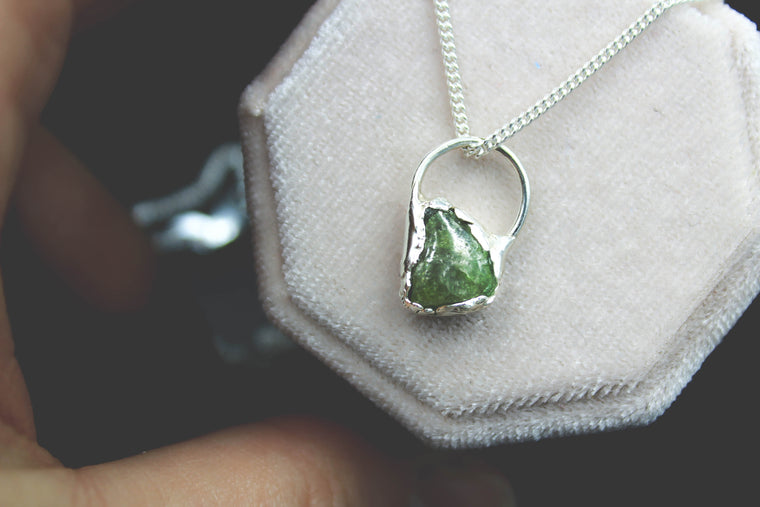 The Dragon's Scale - Green Sapphire Necklace