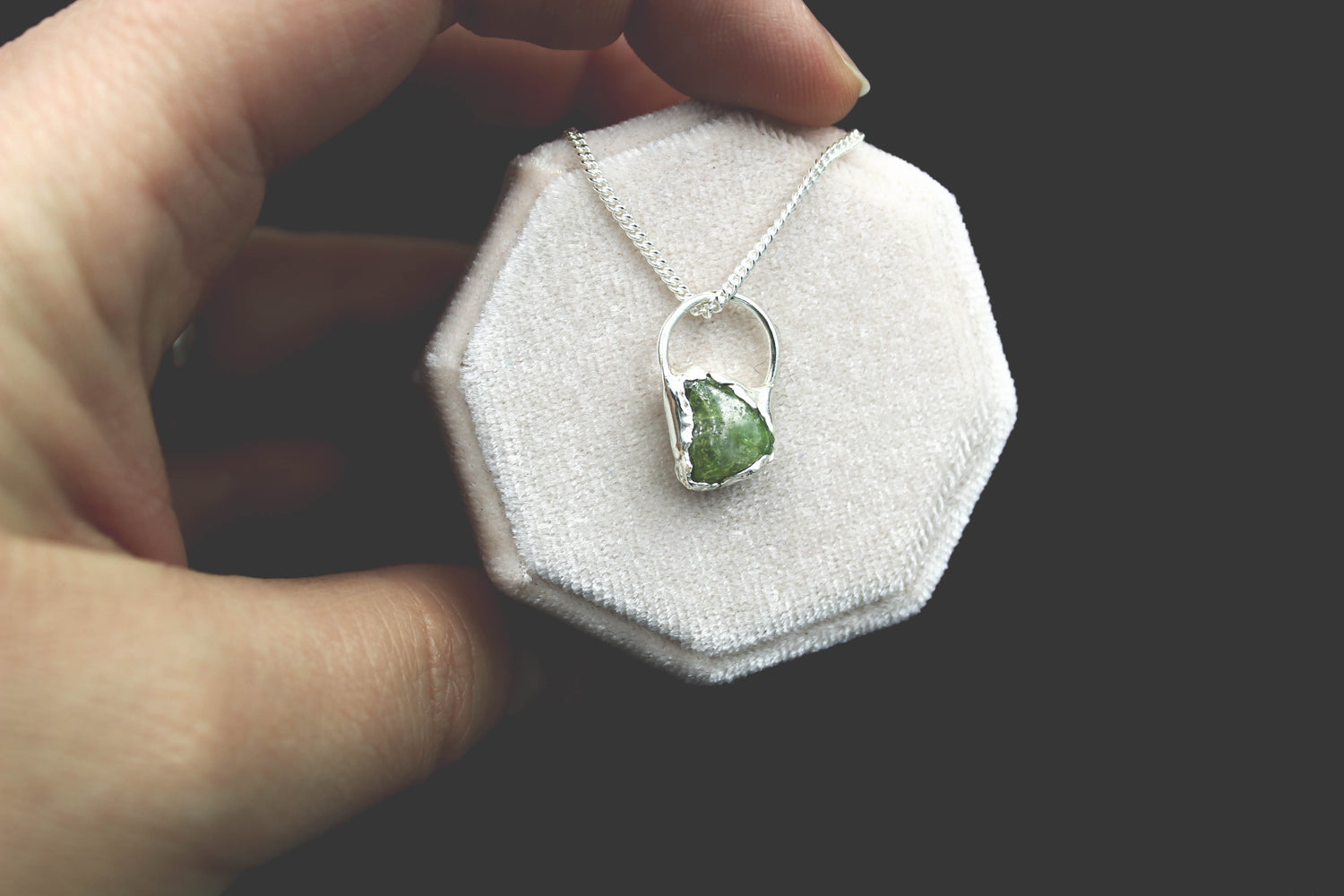 Green Sapphire Raw Gemstone Necklace by Fox and Stone Jewelry