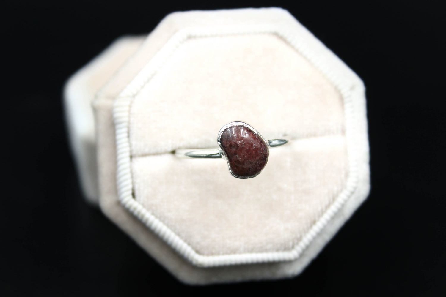 Garnet Ring in Rhodium