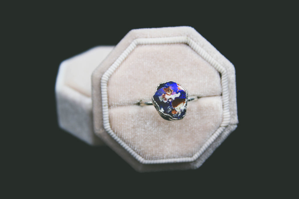 Purple Australian Opal Ring in Rhodium-The Fox And Stone
