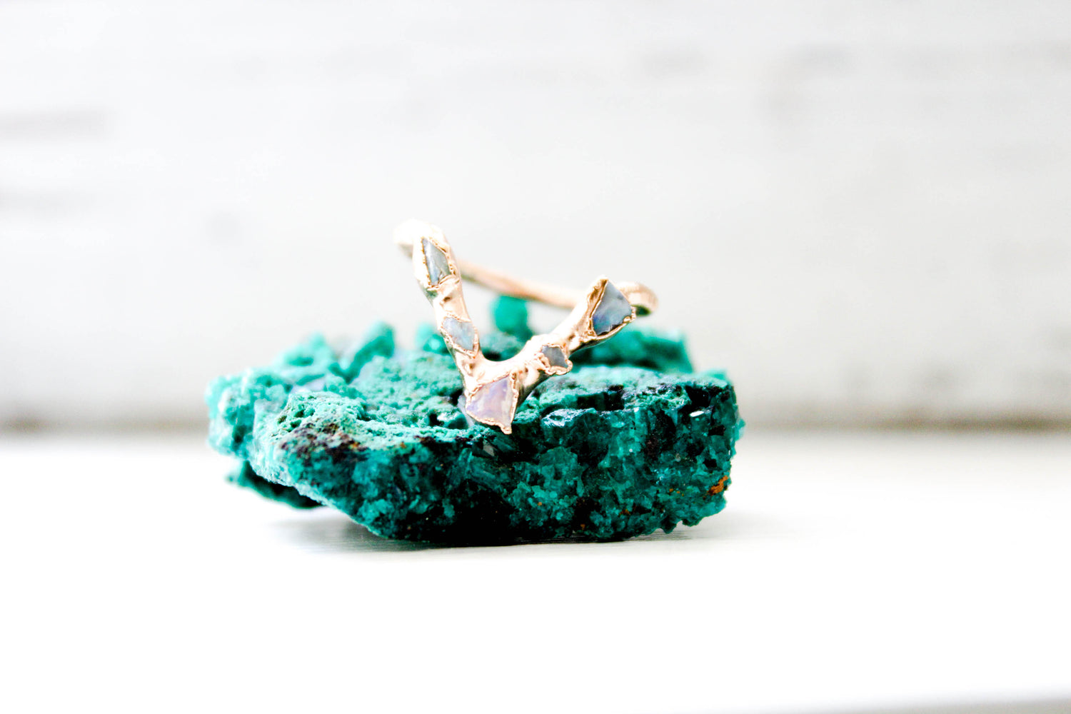 Opal Chip Raw Stone Wedding Band Ring by The Fox And Stone Jewelry