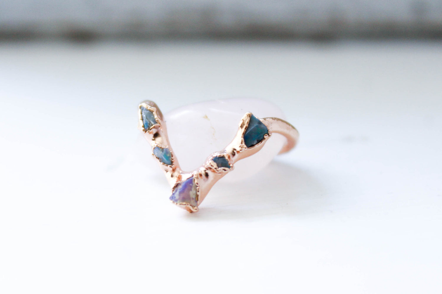 Opal Chip Raw Stone Wedding Band Ring by The Fox And Stone Bohemian Jewelry