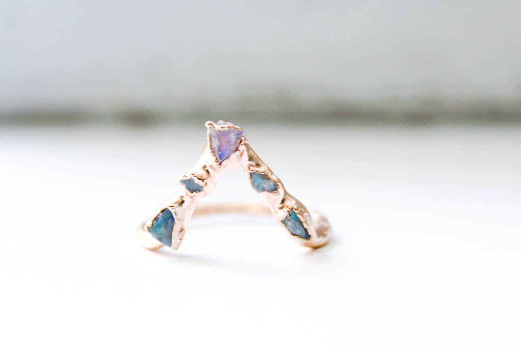 The Opal Pyramid Ring - The Fox And Stone Bohemian Jewelry Alternative Engagement Ring