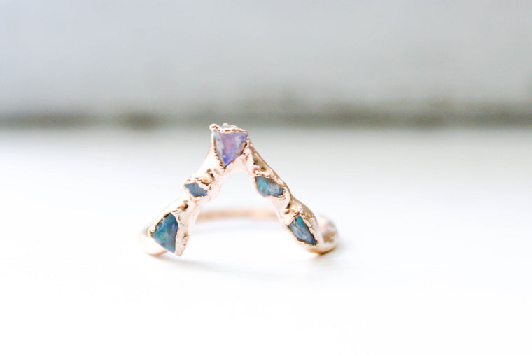 Natural Australian Opal Chip Chevron Ring
