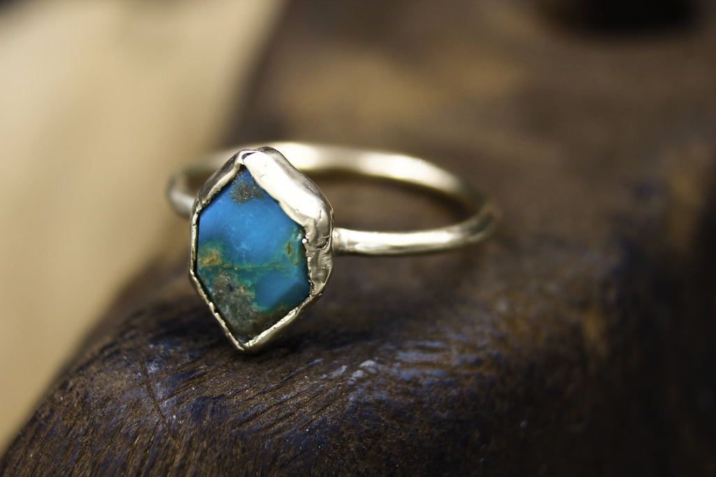 Solid 14k Gold Turquoise Engagement Ring-Rings-The Fox And Stone