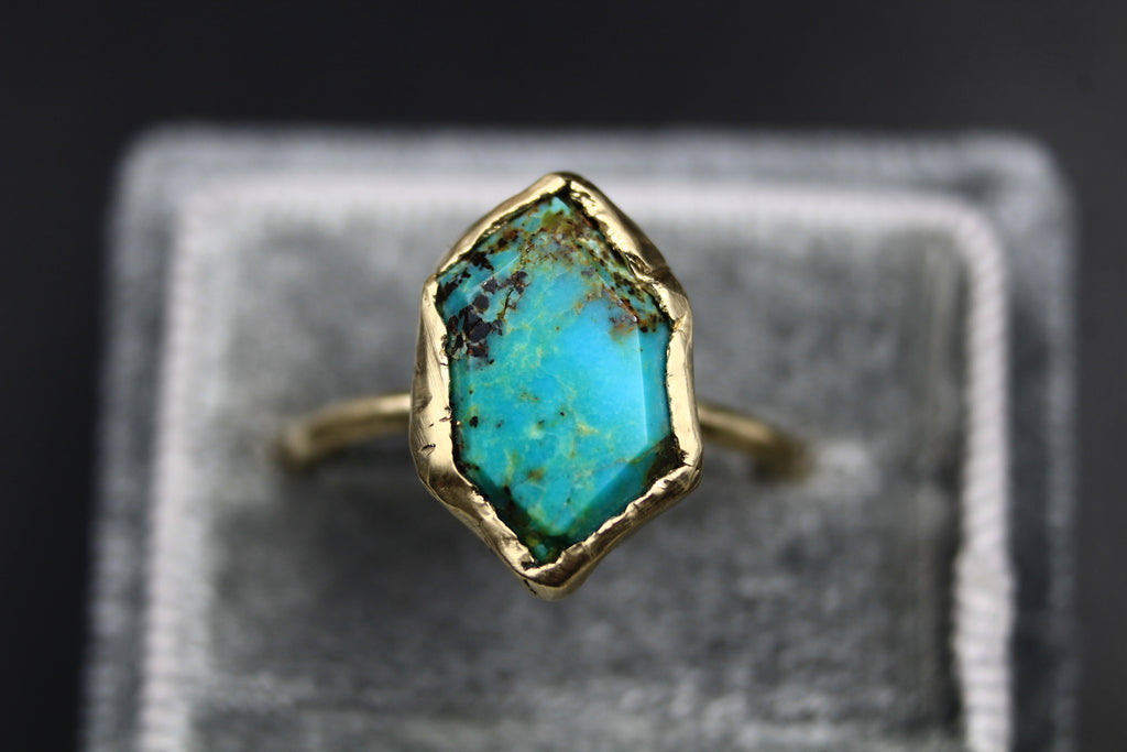 Turquoise & Raw Ethical Diamond Engagement and Wedding Ring Set-Rings-The Fox And Stone
