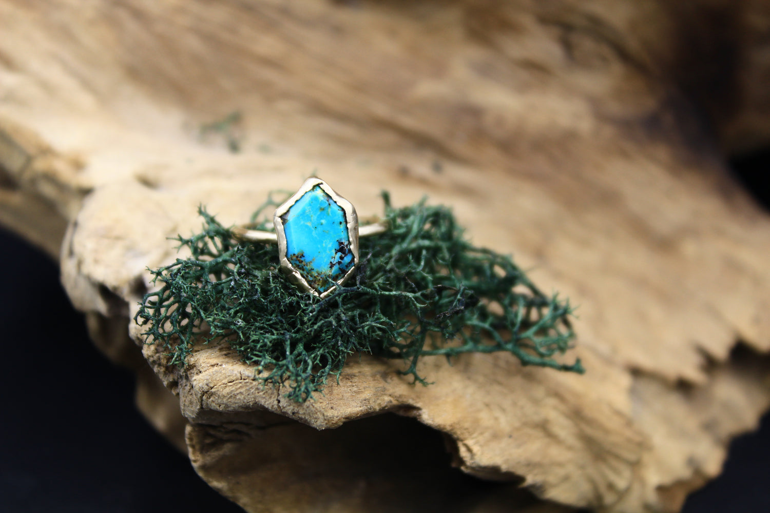 Solid 14k Gold Turquoise & Raw Diamond Wedding Set-Rings-The Fox And Stone