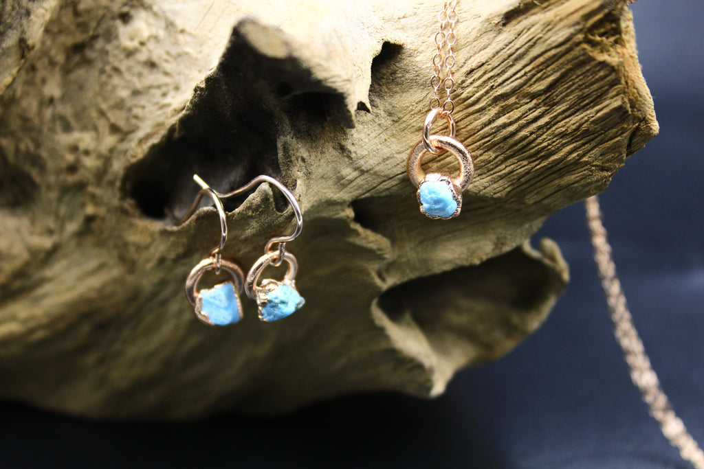 Dainty Turquoise Earrings in Rose Gold-Earrings-The Fox And Stone